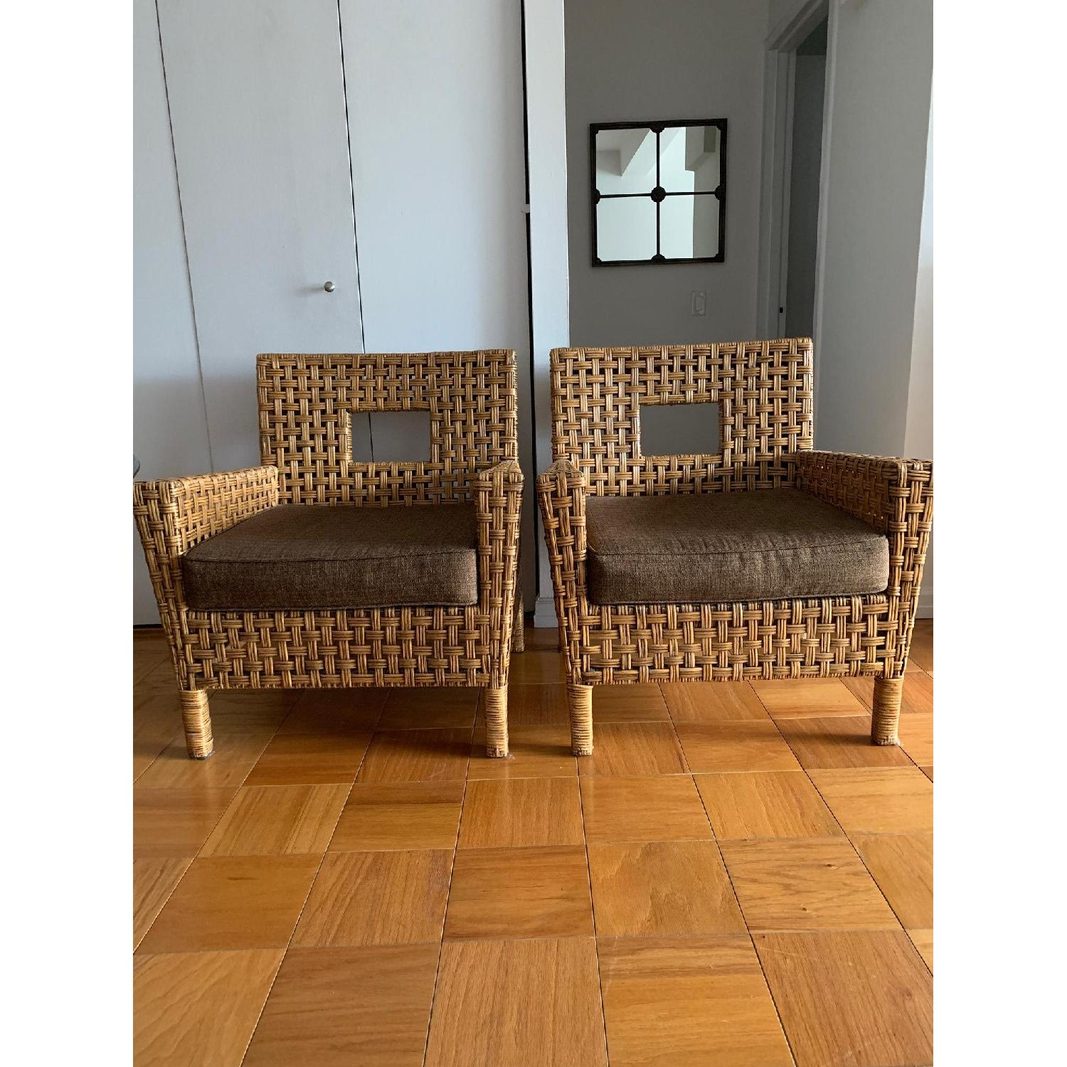 Pier 1 Wicker Chairs w/ Removable Cushions - image-3