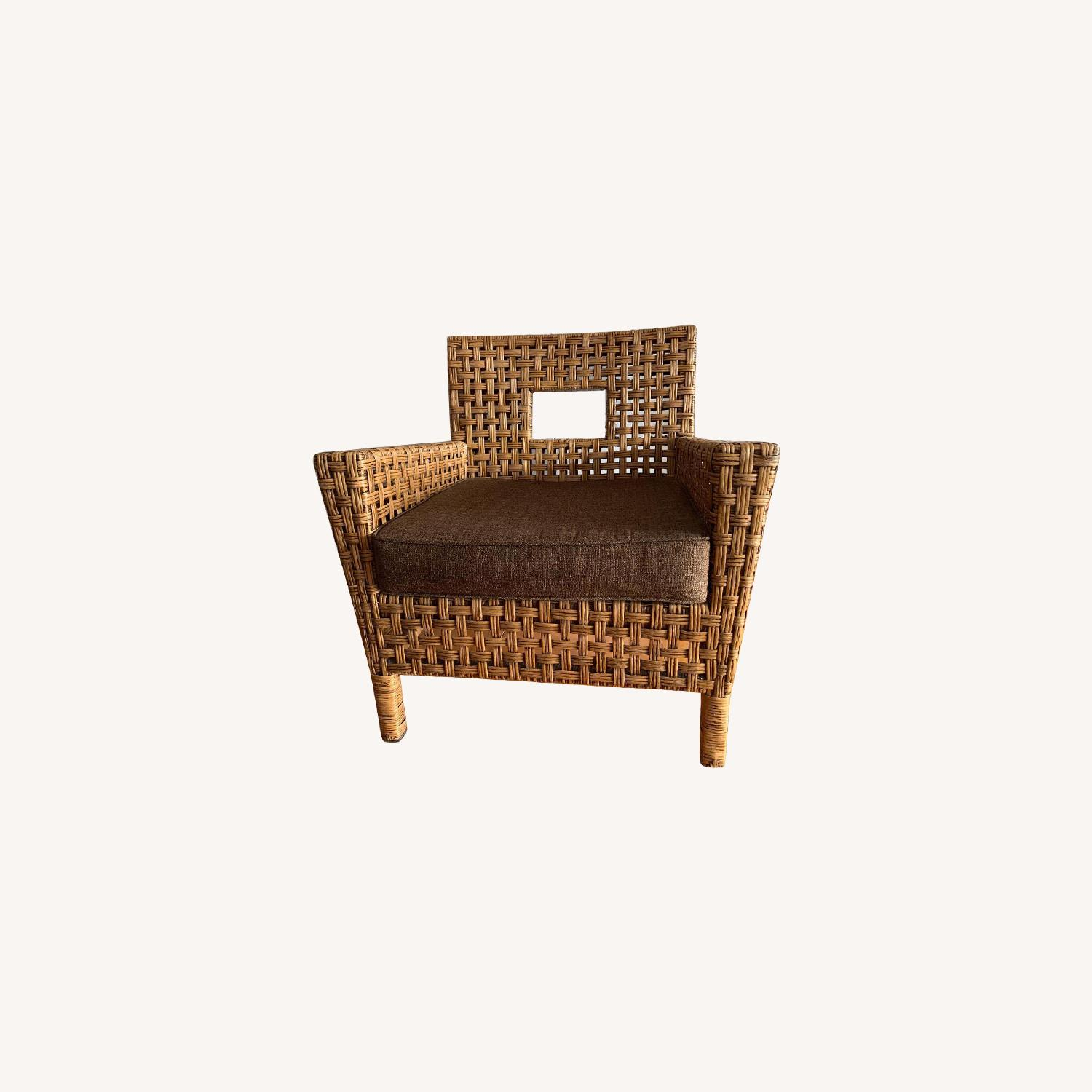 Pier 1 Wicker Chairs w/ Removable Cushions - image-0