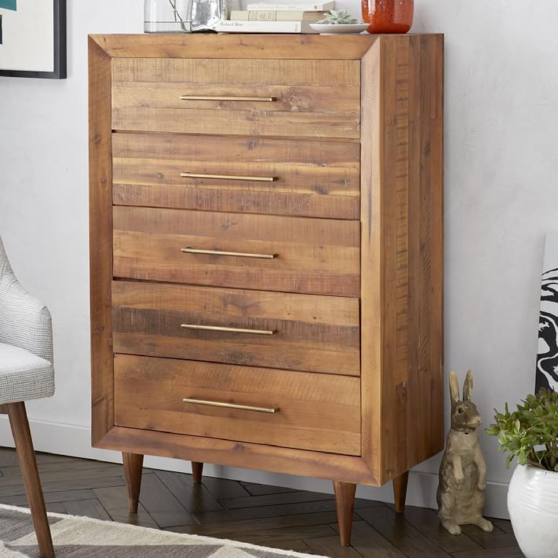 West Elm Alexa 5 Drawer Dresser in Light Honey - image-2