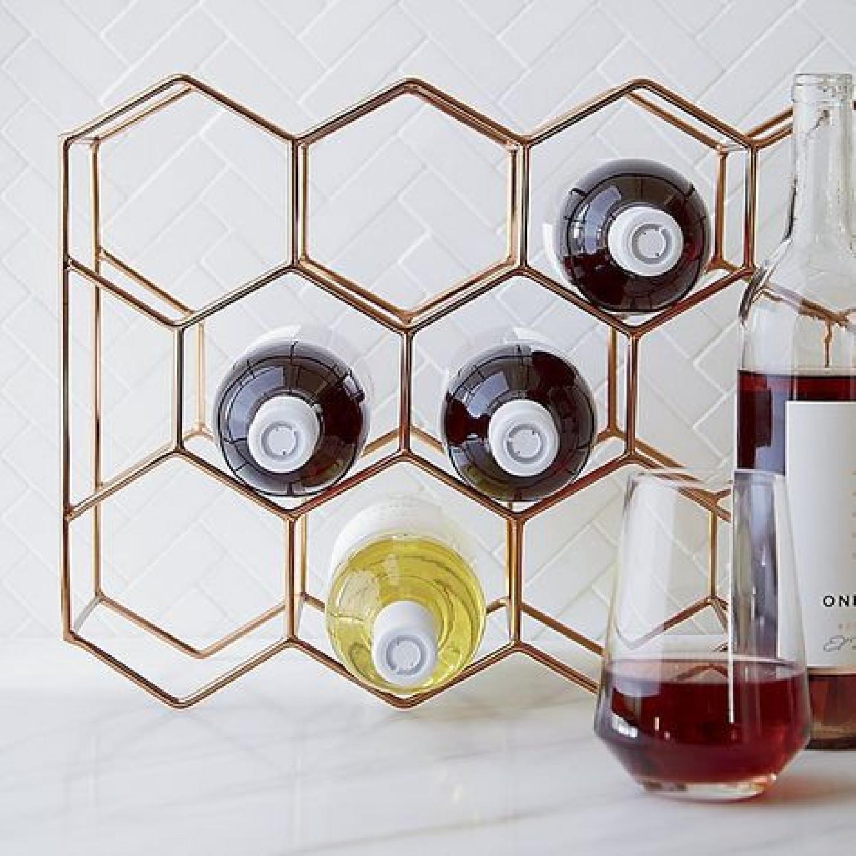 Crate & Barrel 11-Bottle Wine Rack in Copper - image-1