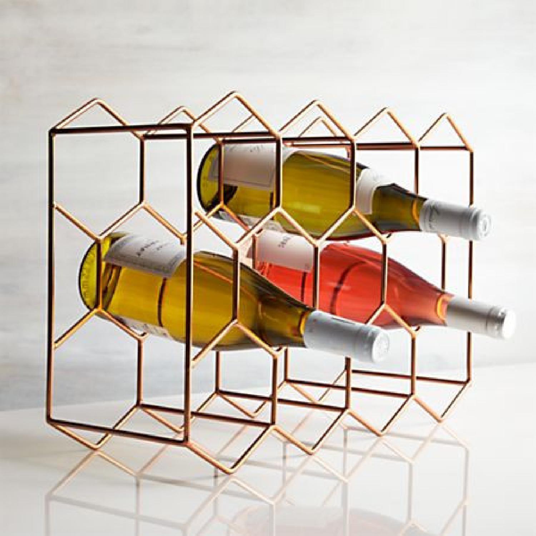 Crate & Barrel 11-Bottle Wine Rack in Copper - image-2