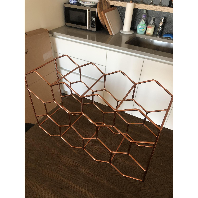 Crate & Barrel 11-Bottle Wine Rack in Copper - image-4