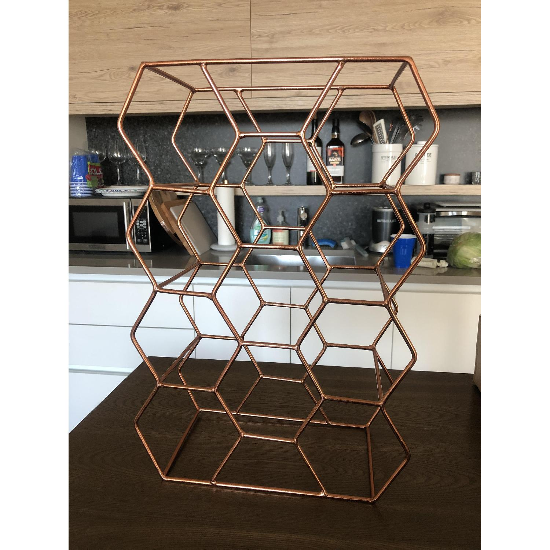 Crate & Barrel 11-Bottle Wine Rack in Copper - image-3