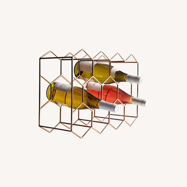 Crate & Barrel 11-Bottle Wine Rack in Copper - image-0