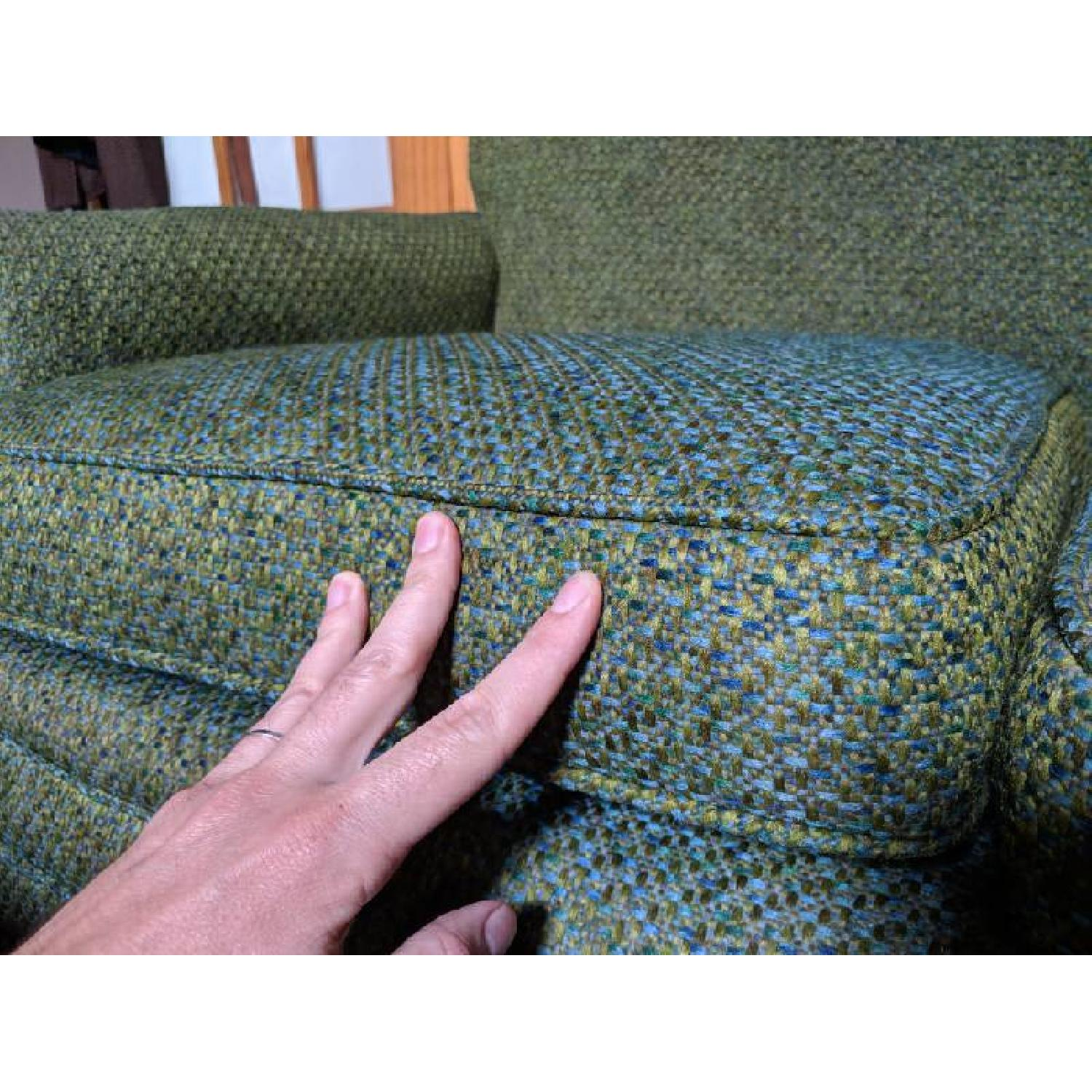 Green & Blue Crosswoven Mid-Century Wool Loveseat - image-3
