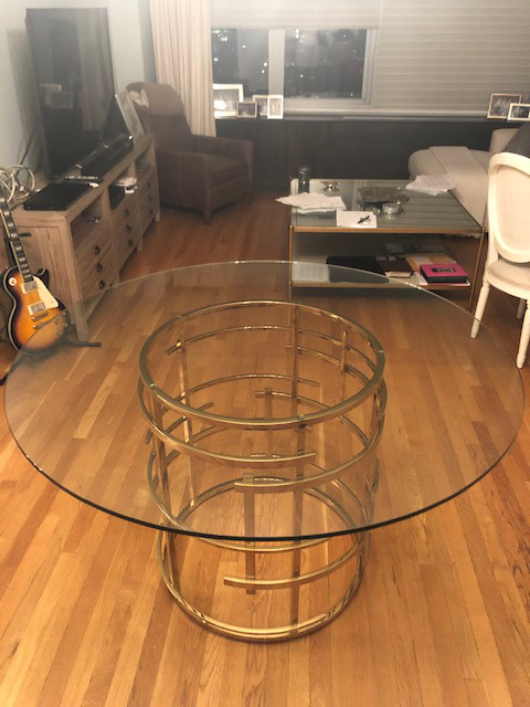 Mitchell Gold + Bob Williams Glass & Brass Dining Table