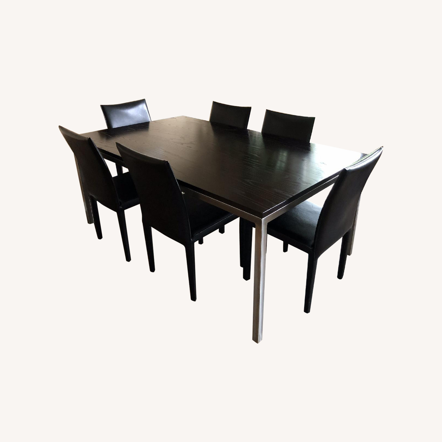 Crate & Barrel Parsons Table w/ 6 Italian Leather Chairs