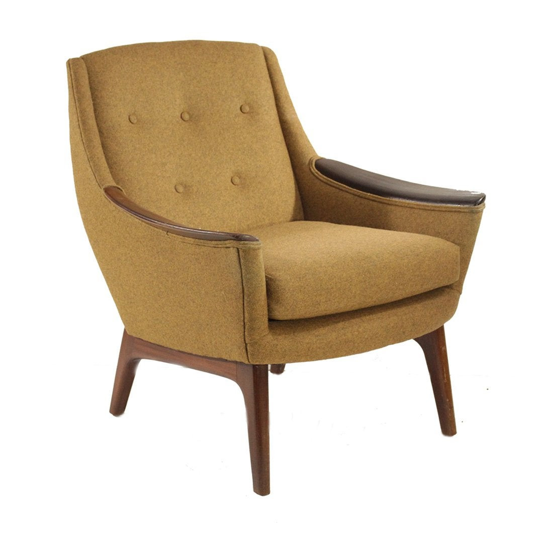 1960s Adrian Pearsall Walnut & Tweed Lounge Chair