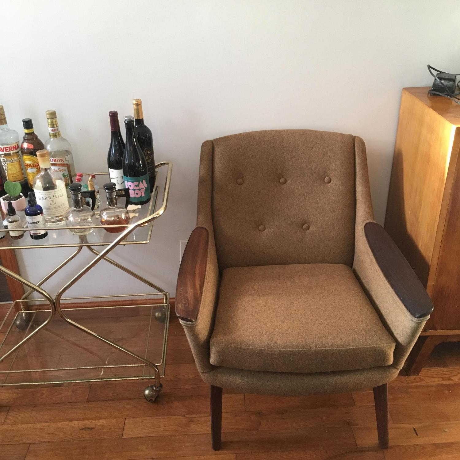 1960s Adrian Pearsall Walnut & Tweed Lounge Chair - image-1