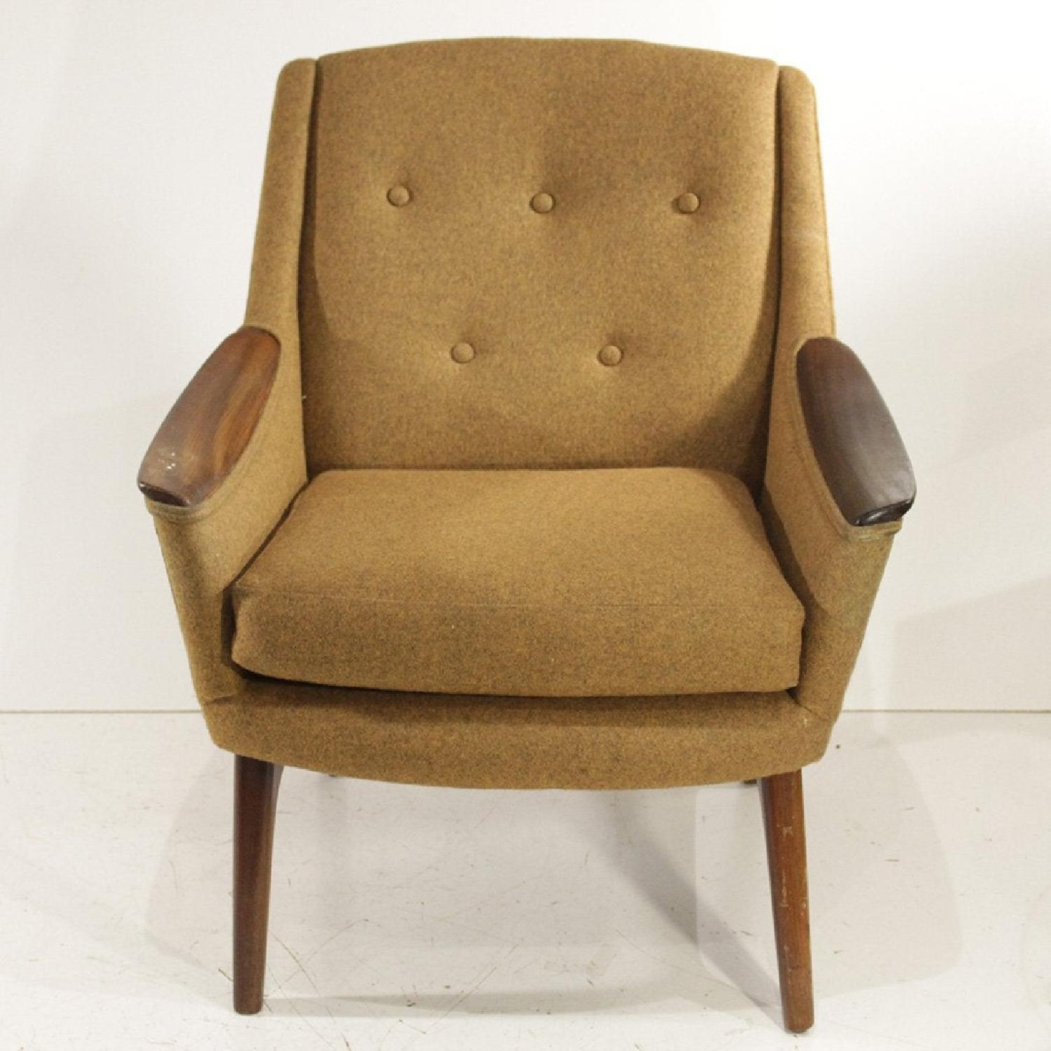 1960s Adrian Pearsall Walnut & Tweed Lounge Chair - image-4