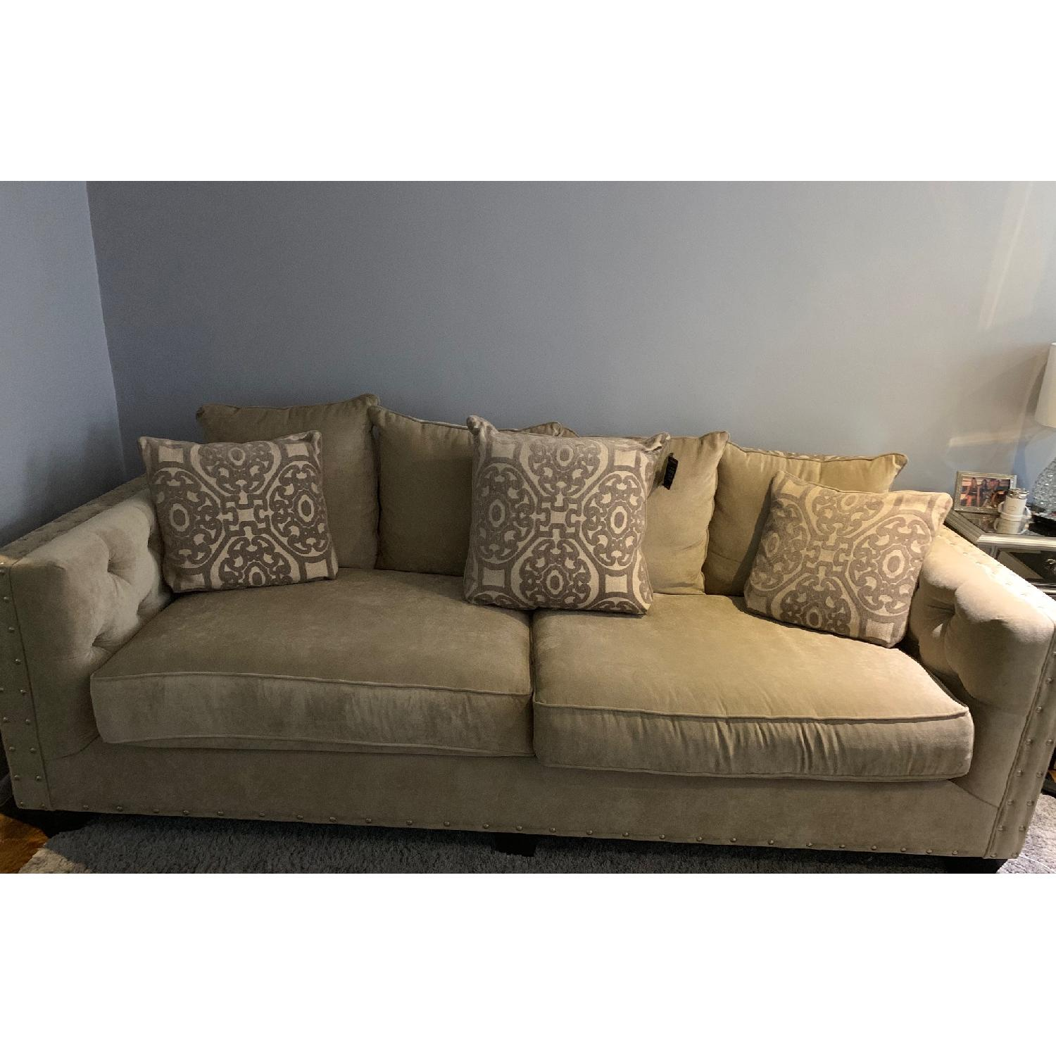Raymour & Flanigan Sofa w/ Tufted Button Detail - image-1