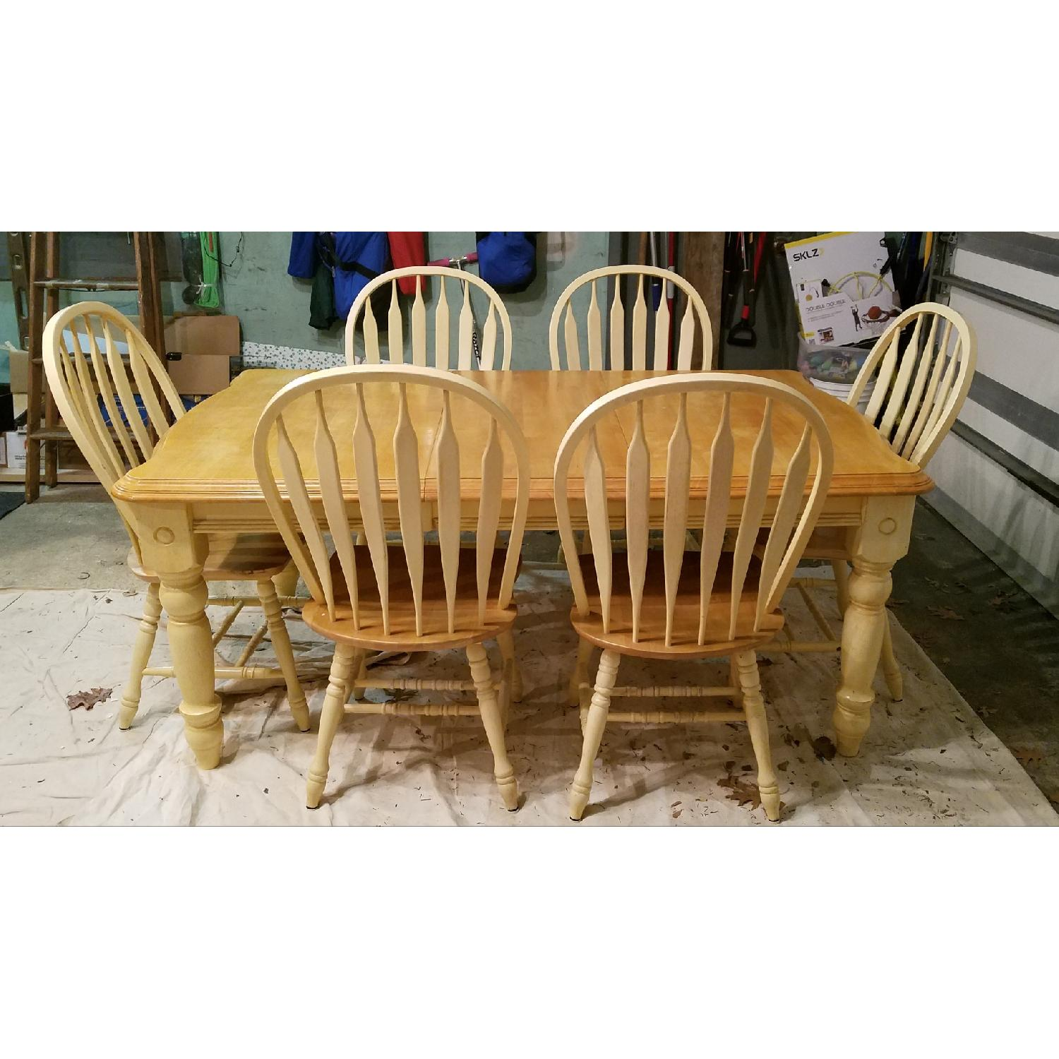 Wood Expandable Dining Table w/ 6 Chairs - image-2