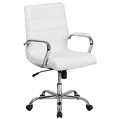 Flash Mid-Back White Leather Executive Swivel Office Chair