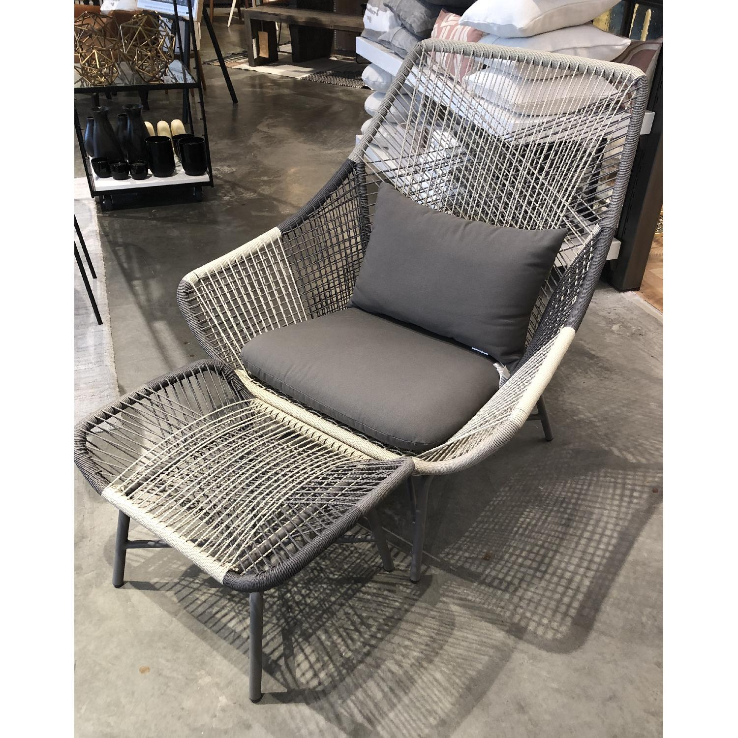 West Elm Huron Outdoor Lounge Chair & Ottoman - image-5