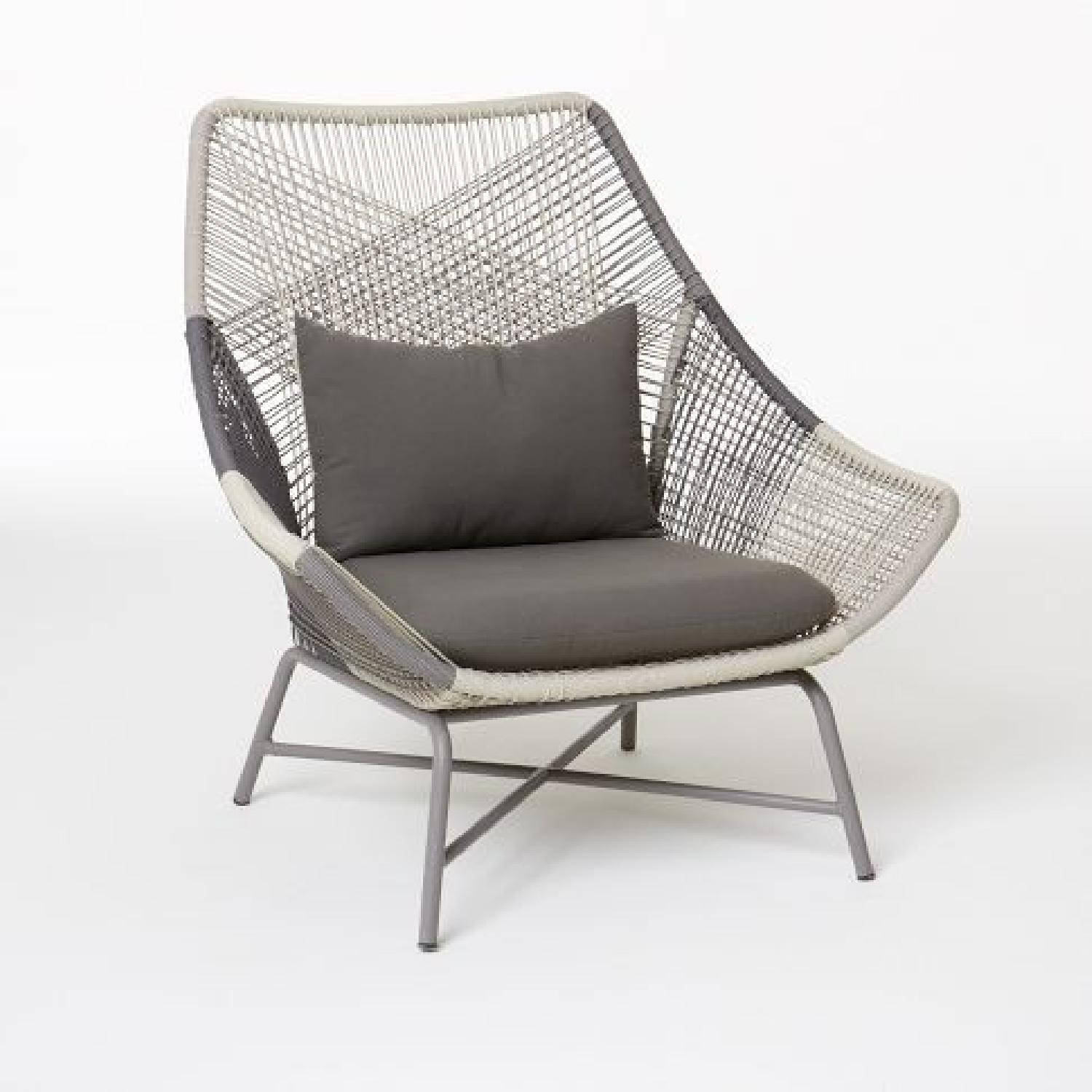 West Elm Huron Outdoor Lounge Chair & Ottoman - image-6