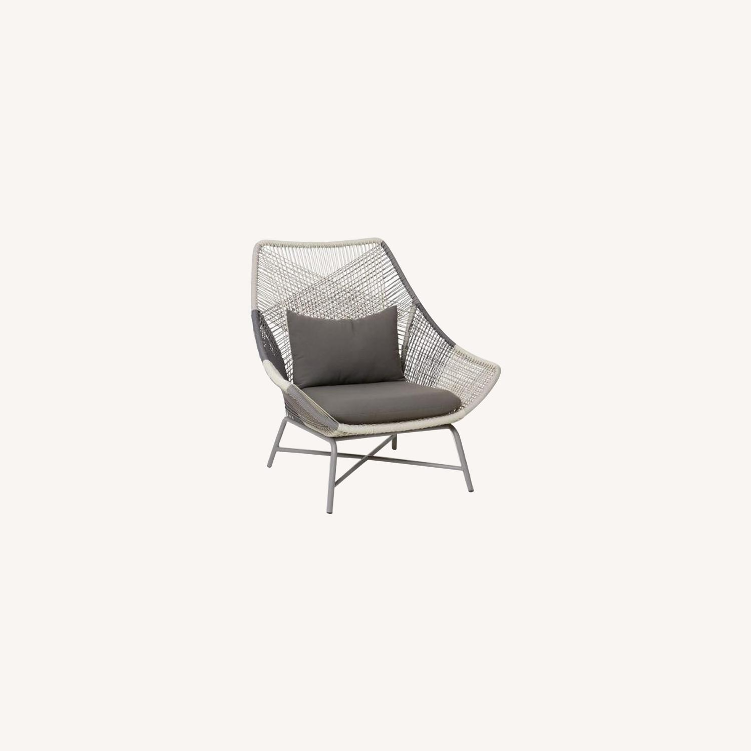 West Elm Huron Outdoor Lounge Chair & Ottoman - image-0