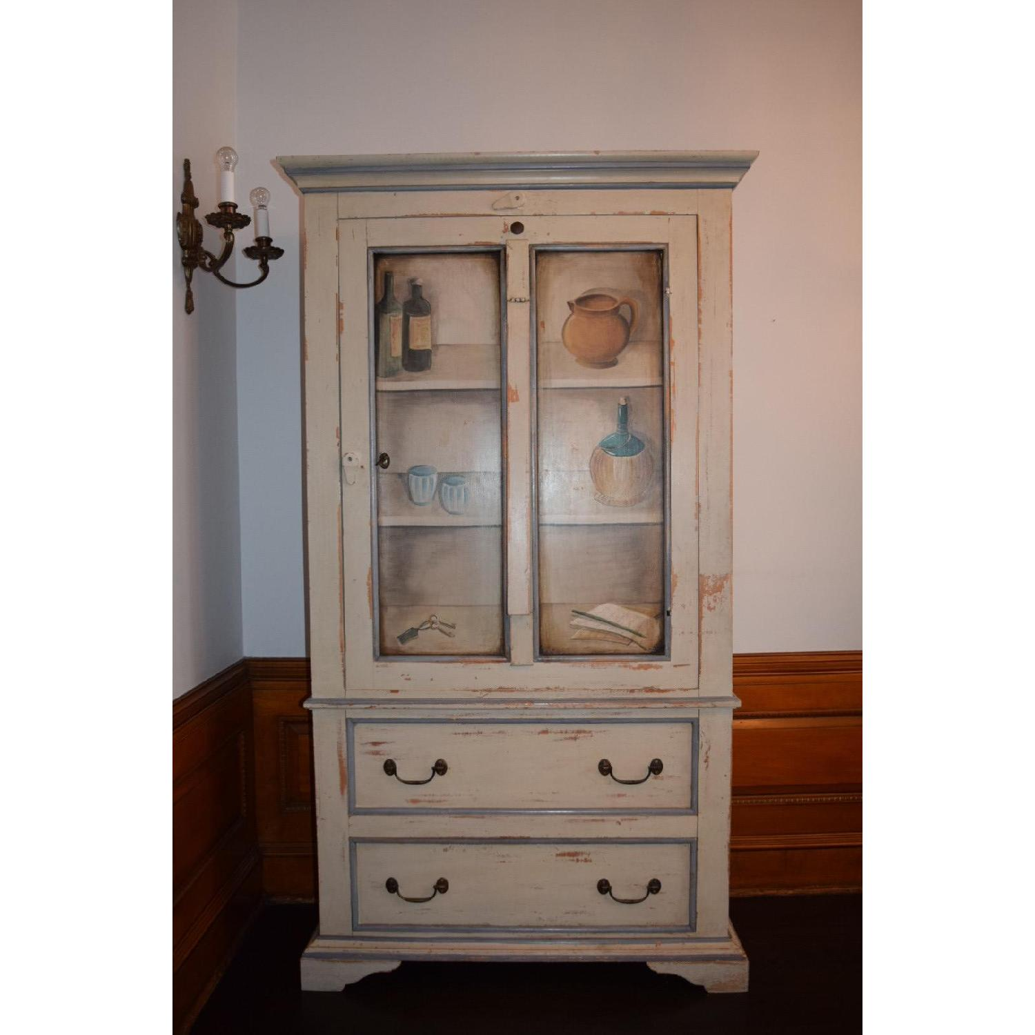 Shabby Chic Hand-Painted Distressed Cabinet - image-1