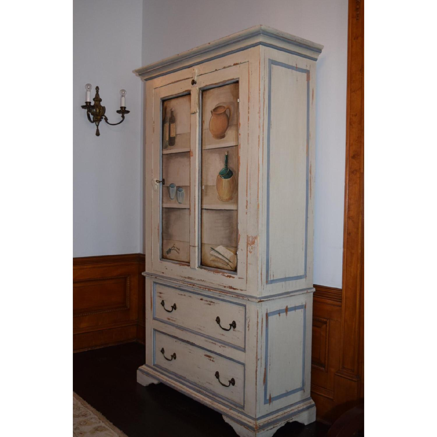 Shabby Chic Hand-Painted Distressed Cabinet - image-2