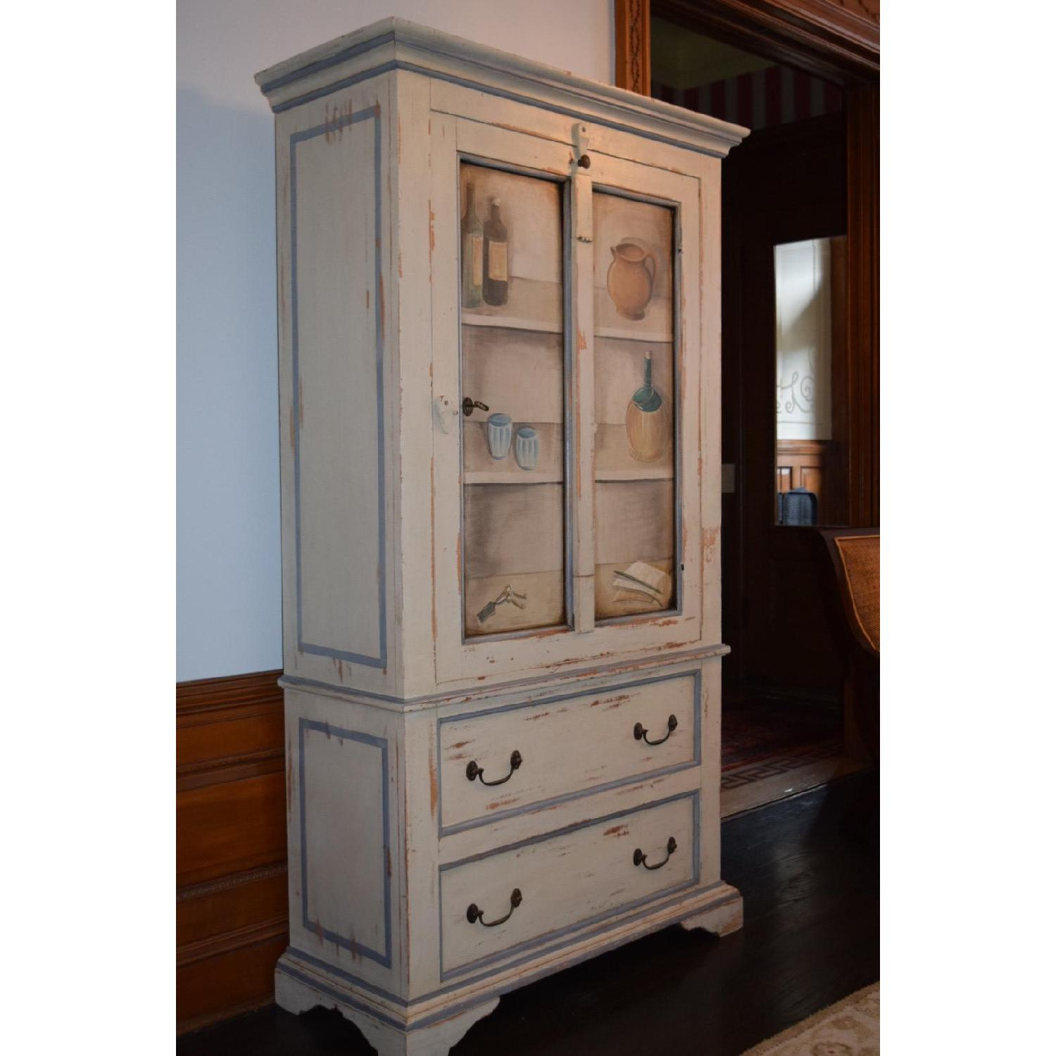 Shabby Chic Hand-Painted Distressed Cabinet - image-6