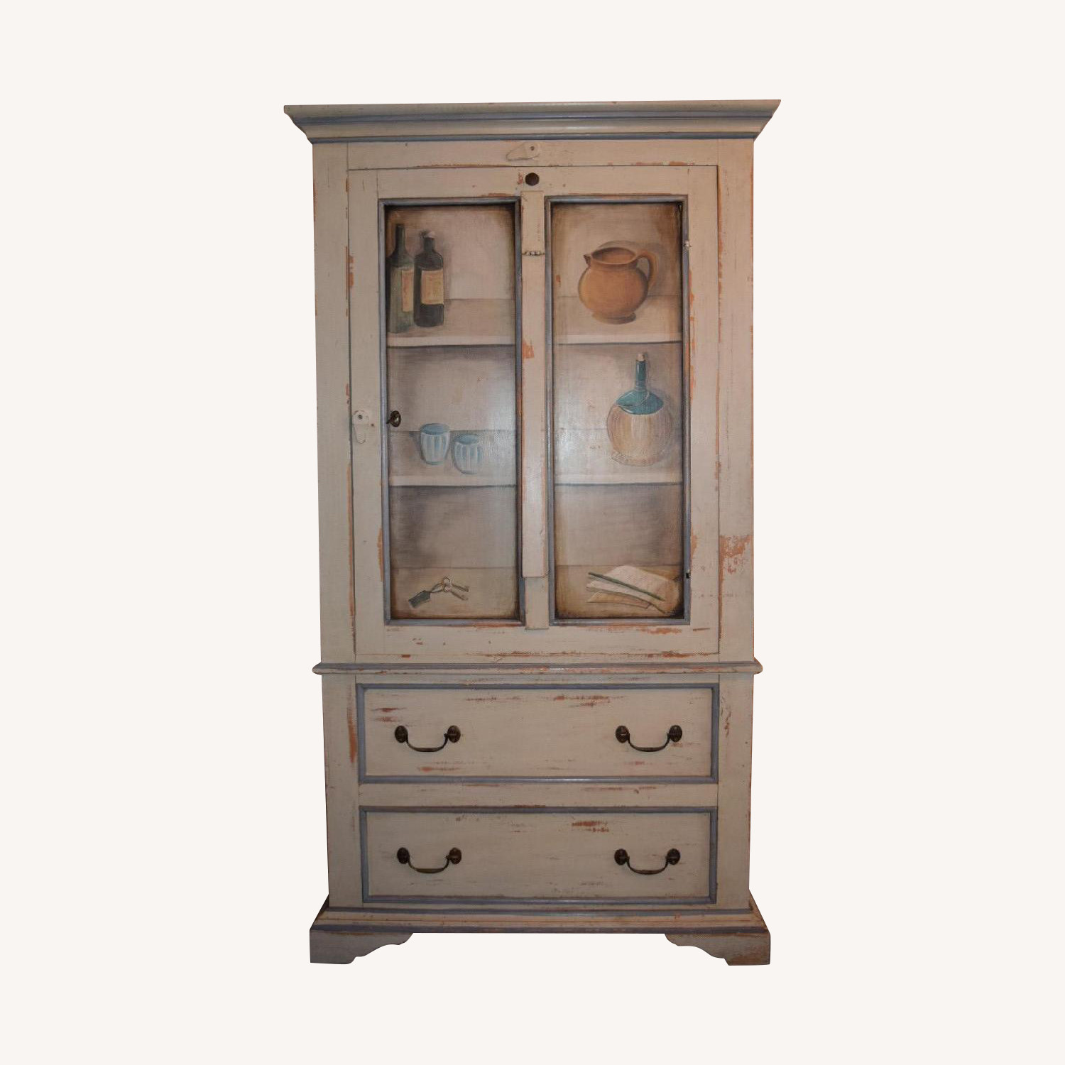 Shabby Chic Hand-Painted Distressed Cabinet