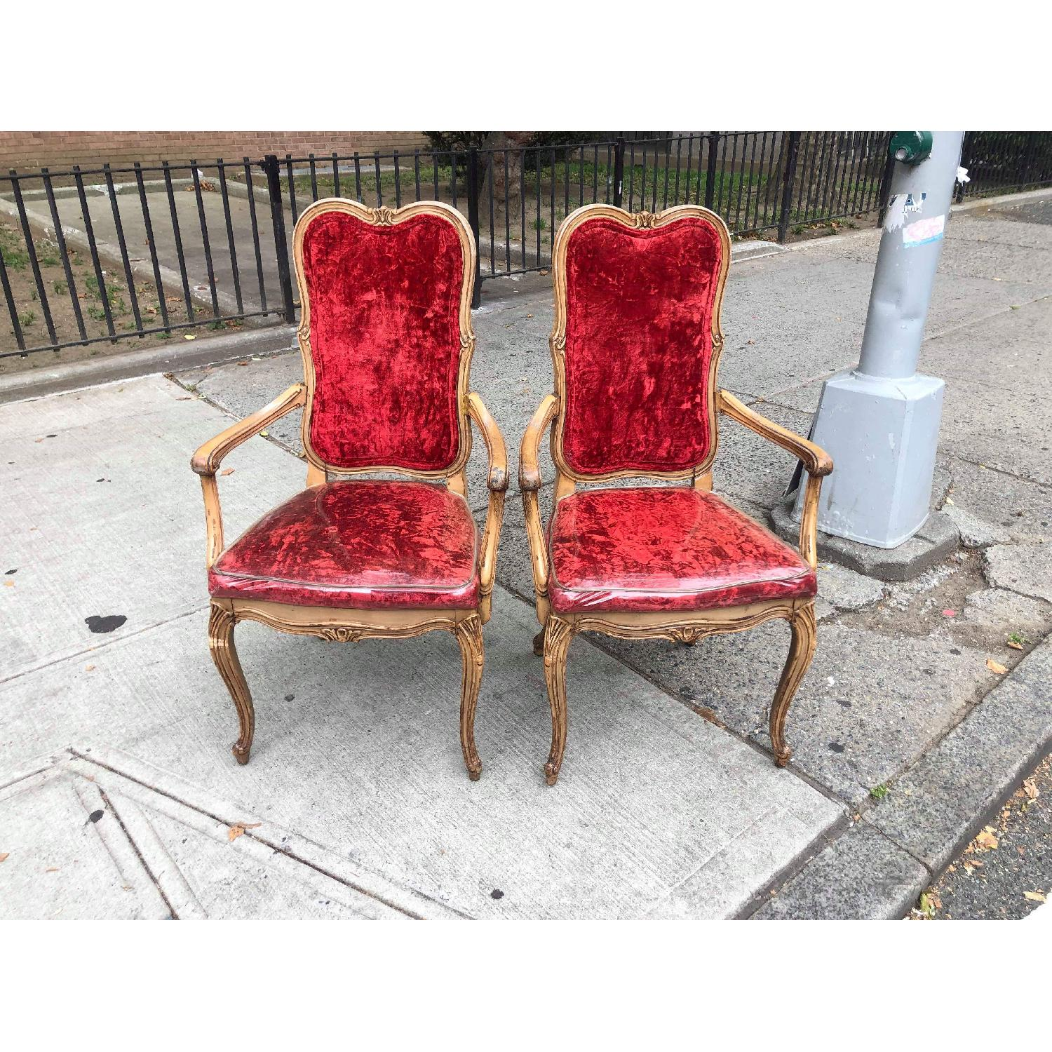 Vintage French Style Red Armchairs - image-1
