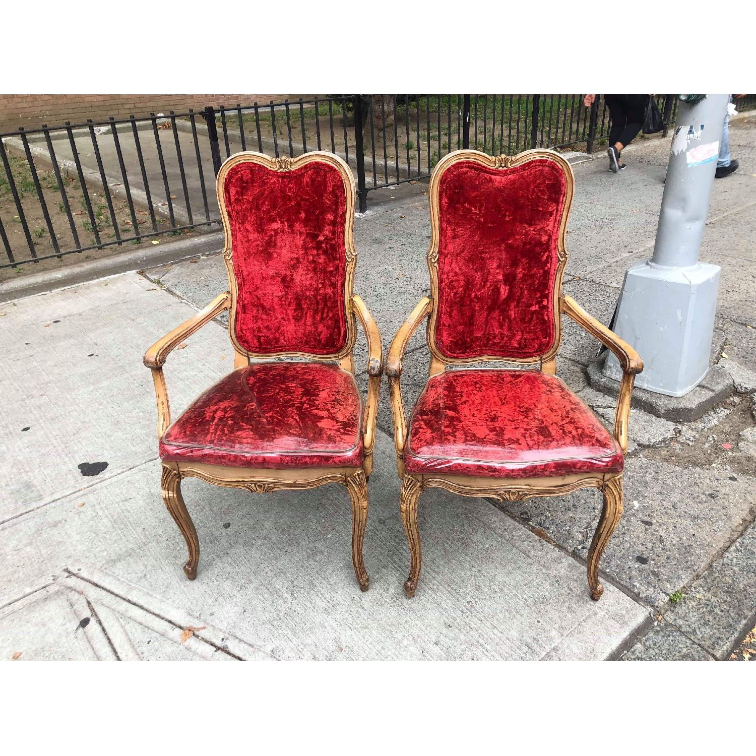 Vintage French Style Red Armchairs - image-13