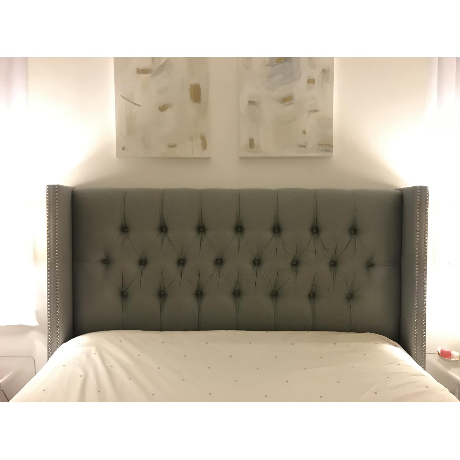 World Menagerie Tufted Upholstered Wingback Queen Headboard - image-1