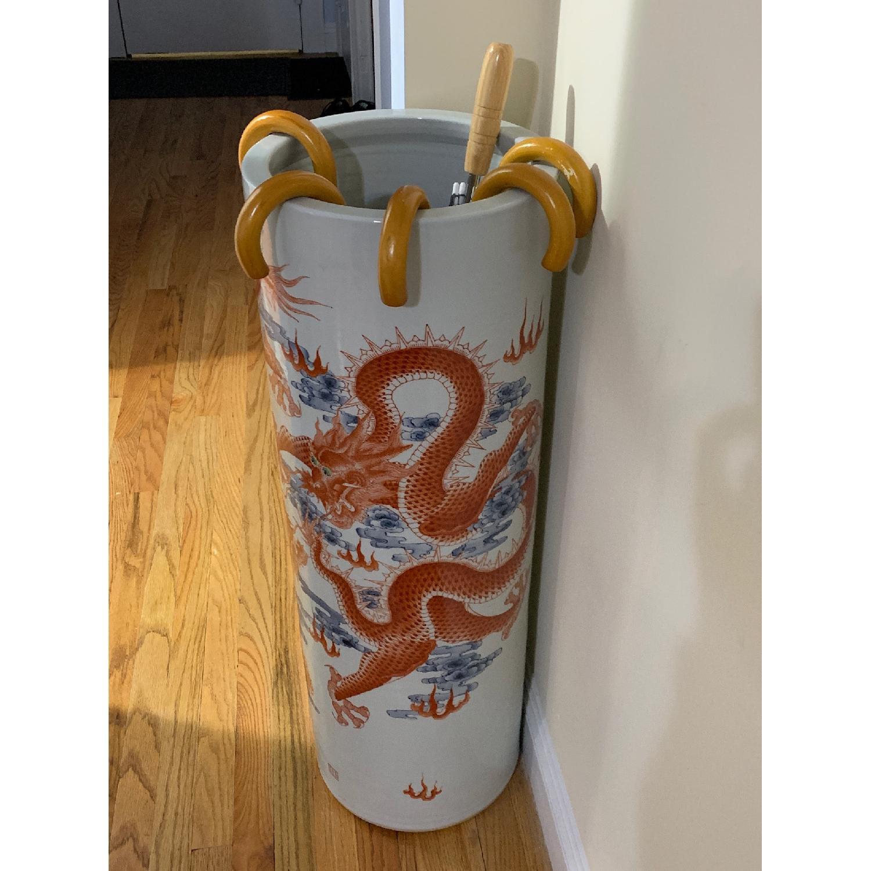 Chinese Ceramic Vase Illustrated w/ Dragon & Calligraphy - image-4