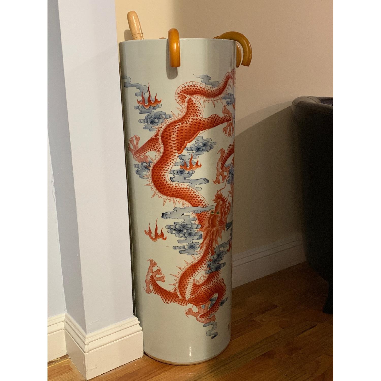 Chinese Ceramic Vase Illustrated w/ Dragon & Calligraphy - image-1