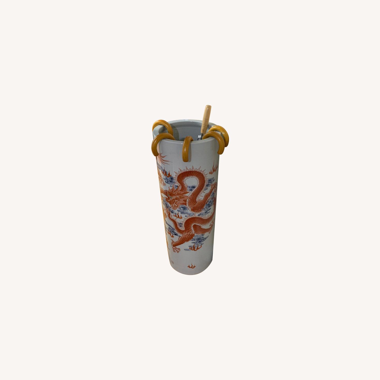 Chinese Ceramic Vase Illustrated w/ Dragon & Calligraphy - image-0