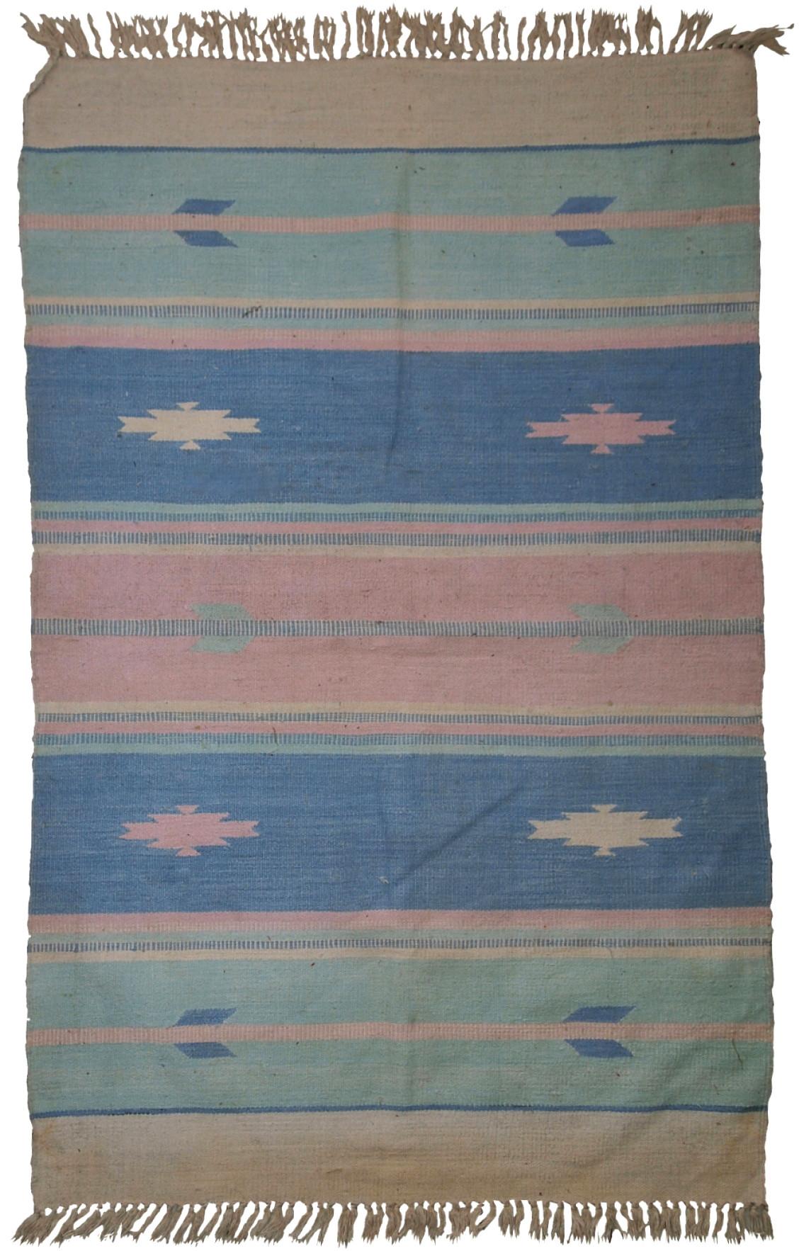 Handmade Vintage Indian Dhurri Kilim Rug
