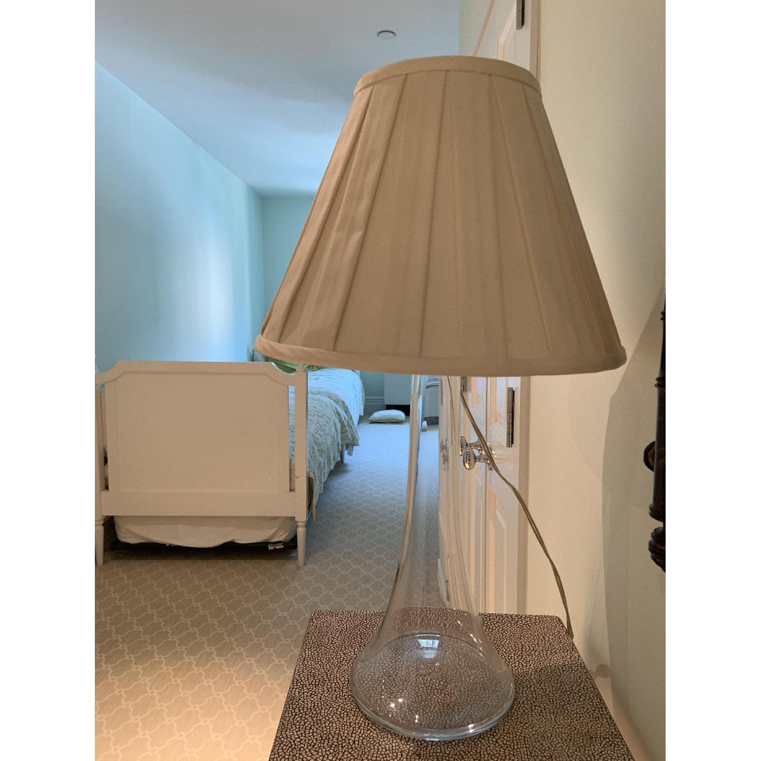 Simon Pearce Table Lamp w/ Cream Silk Fabric Shade - image-1