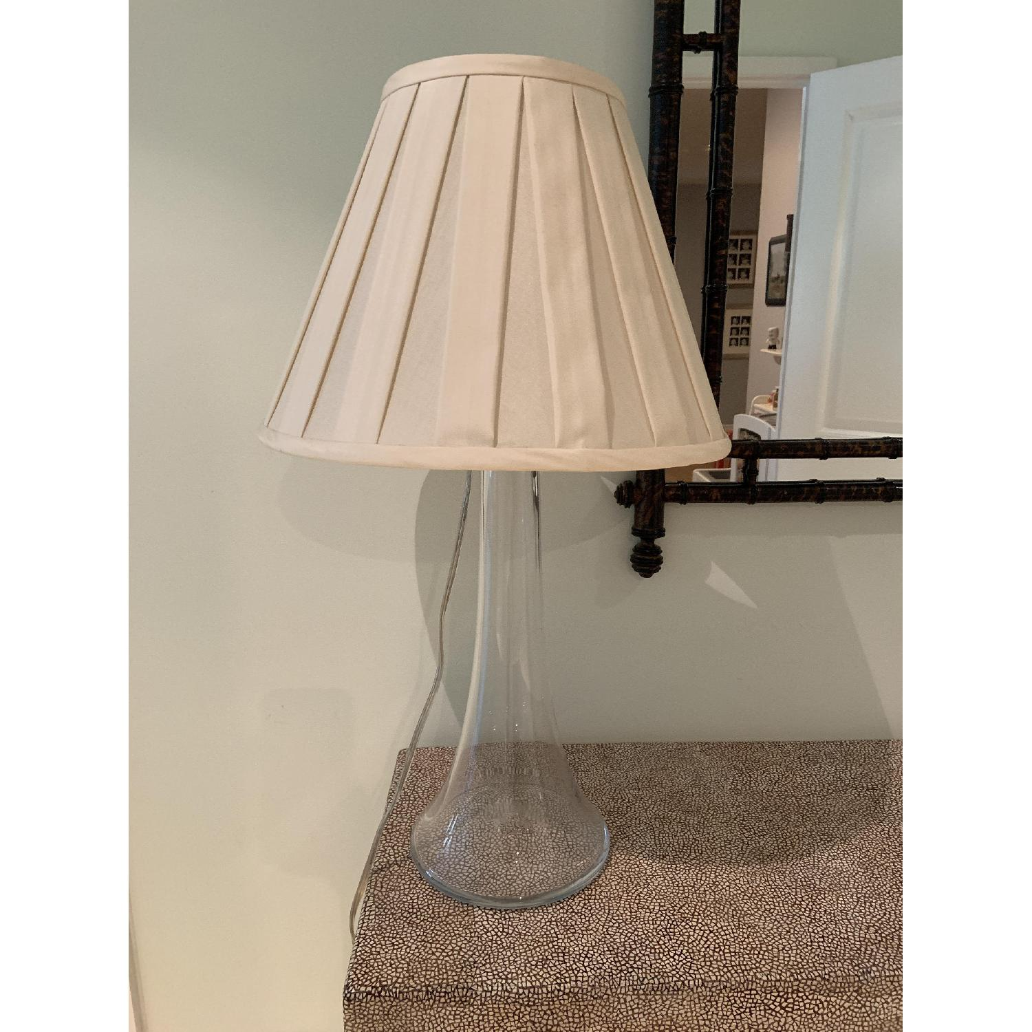 Simon Pearce Table Lamp w/ Cream Silk Fabric Shade - image-2