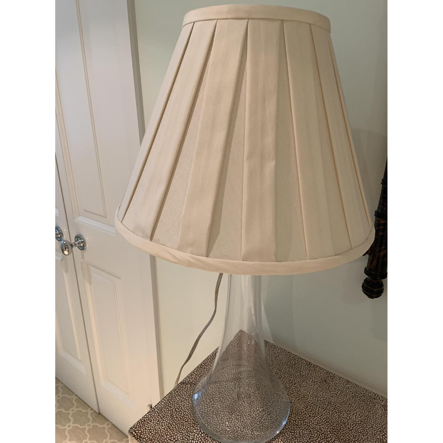 Simon Pearce Table Lamp w/ Cream Silk Fabric Shade - image-3
