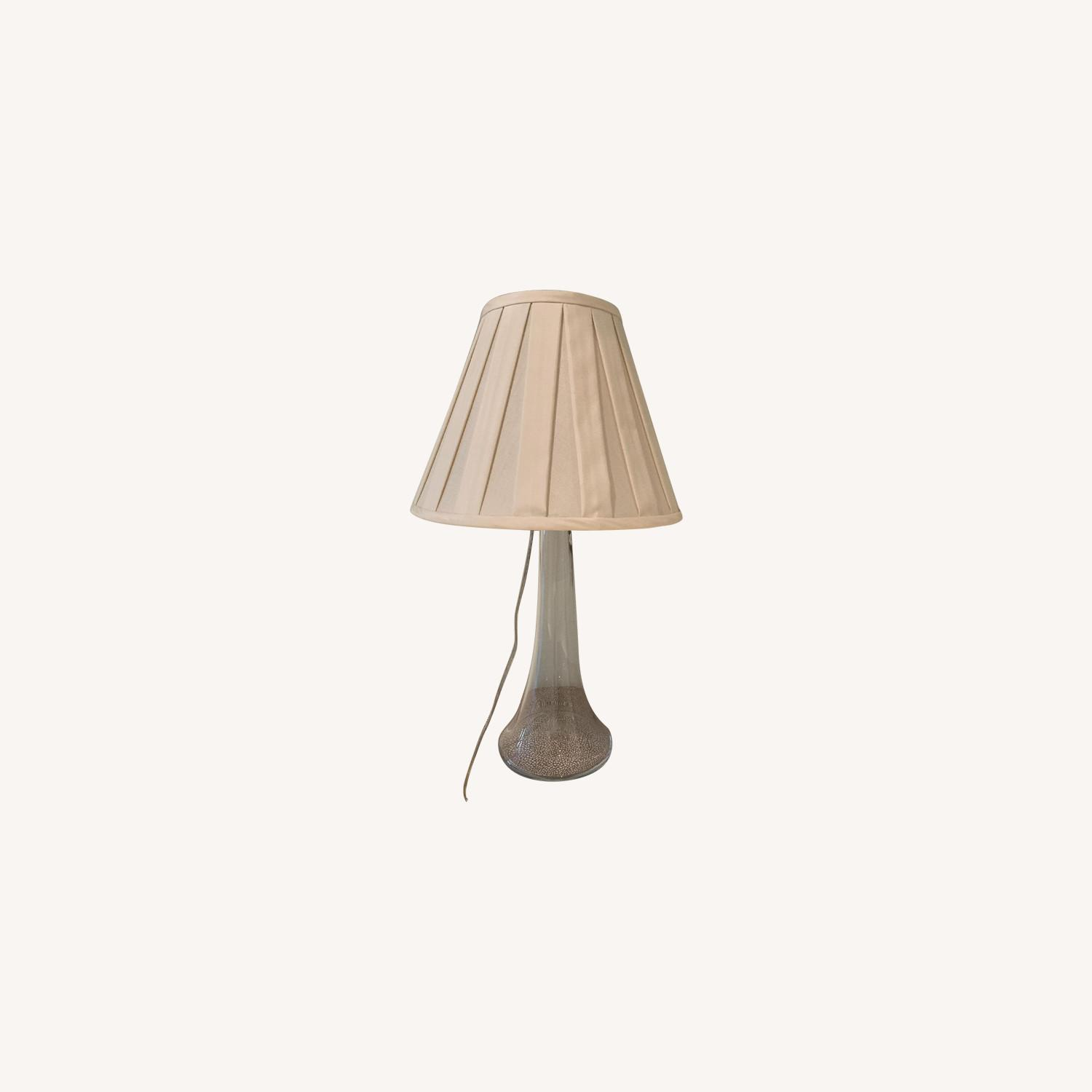 Simon Pearce Table Lamp w/ Cream Silk Fabric Shade - image-0