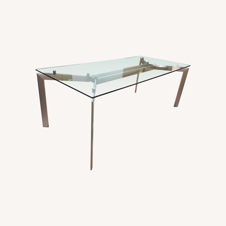 Glass Top Table w/ Metal Legs - image-0
