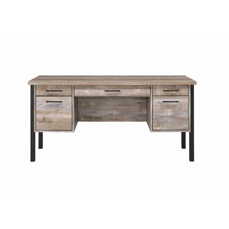 Weathered Oak Desk w/ Steel Legs