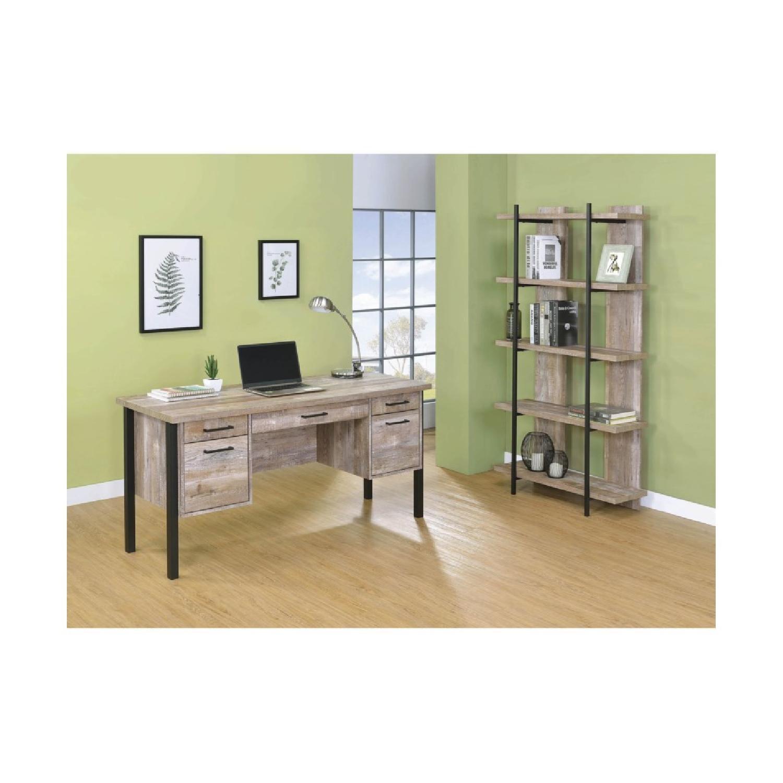 Weathered Oak Bookcase w/ Steel Frame - image-3