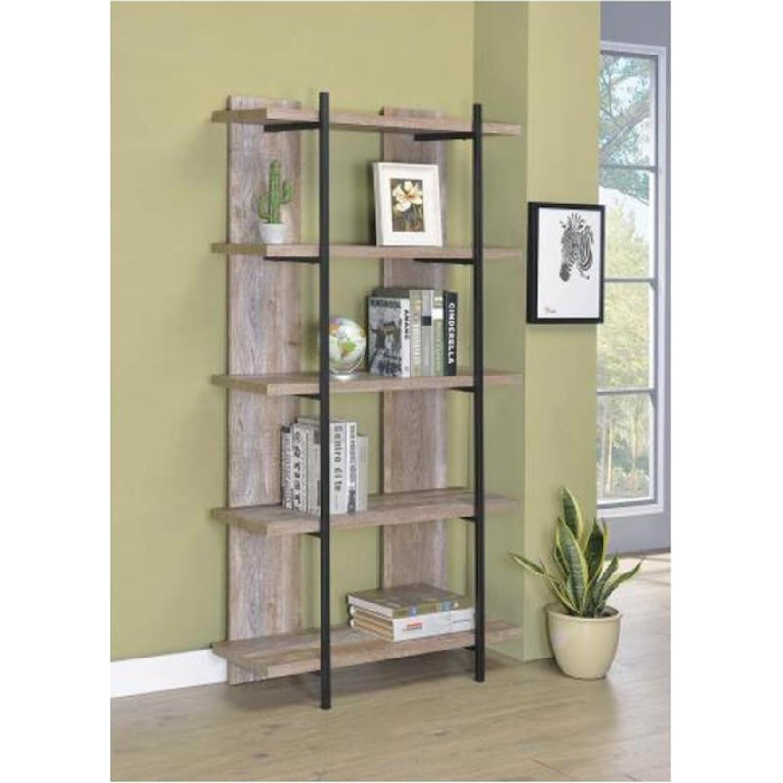 Weathered Oak Bookcase w/ Steel Frame - image-4