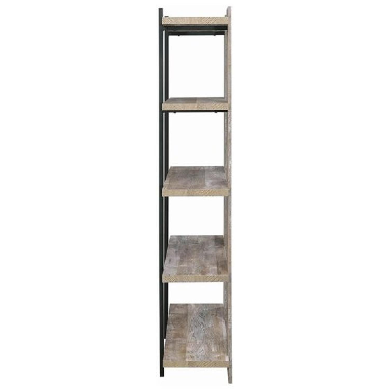 Weathered Oak Bookcase w/ Steel Frame - image-1