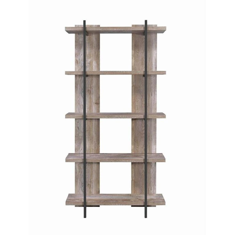 Weathered Oak Bookcase w/ Steel Frame - image-0