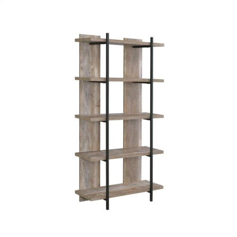 Weathered Oak Bookcase w/ Steel Frame - image-2