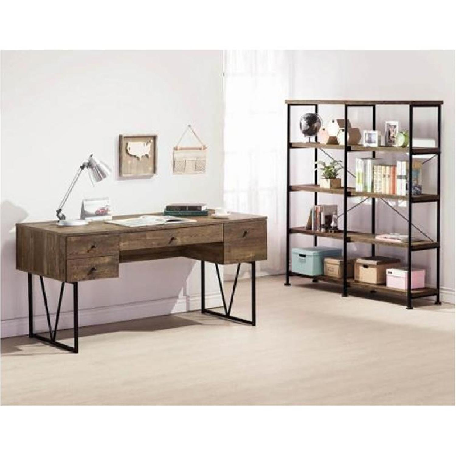 Rustic Oak Desk w/ Black Metal Frame Legs - image-5
