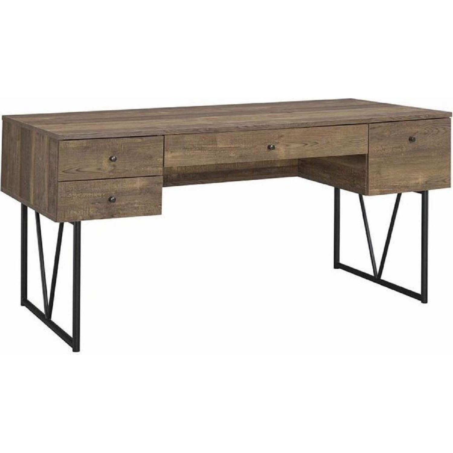 Rustic Oak Desk w/ Black Metal Frame Legs - image-3