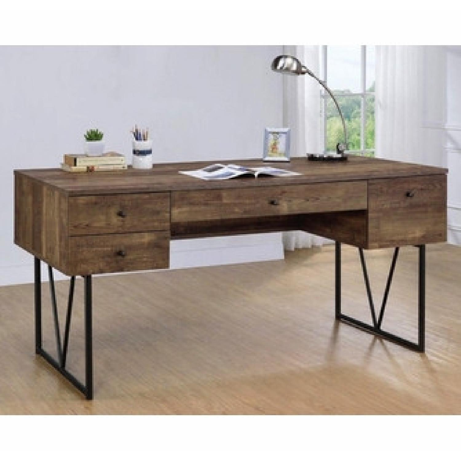 Rustic Oak Desk w/ Black Metal Frame Legs - image-2