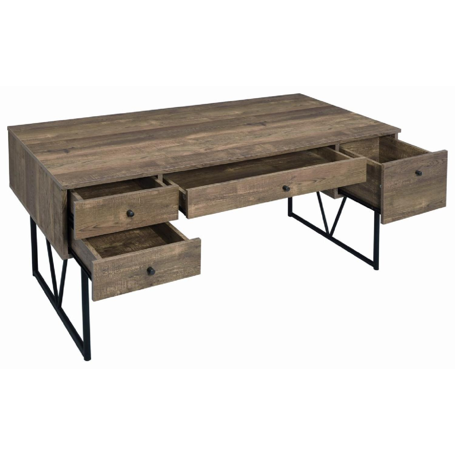 Rustic Oak Desk w/ Black Metal Frame Legs - image-7