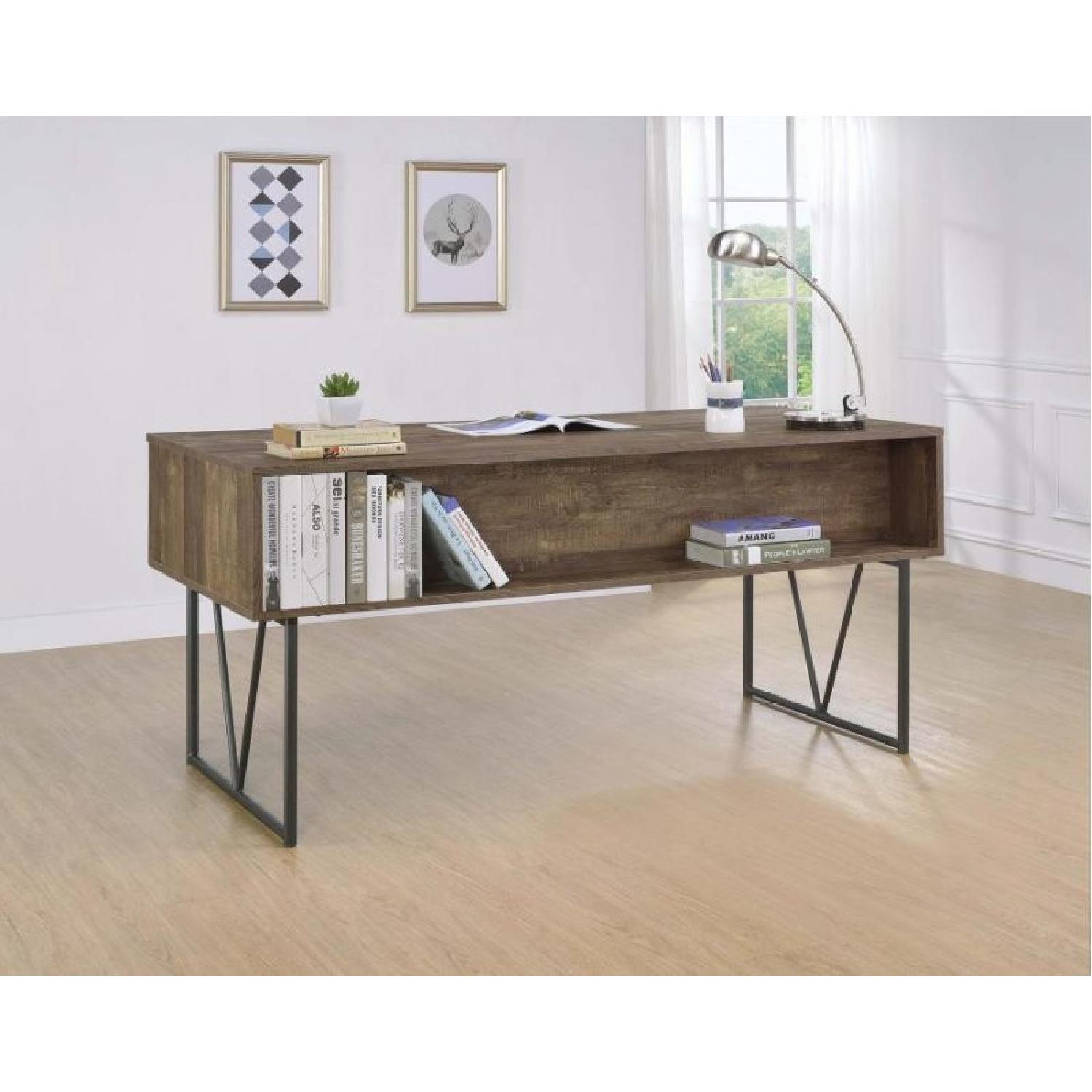 Rustic Oak Desk w/ Black Metal Frame Legs - image-6