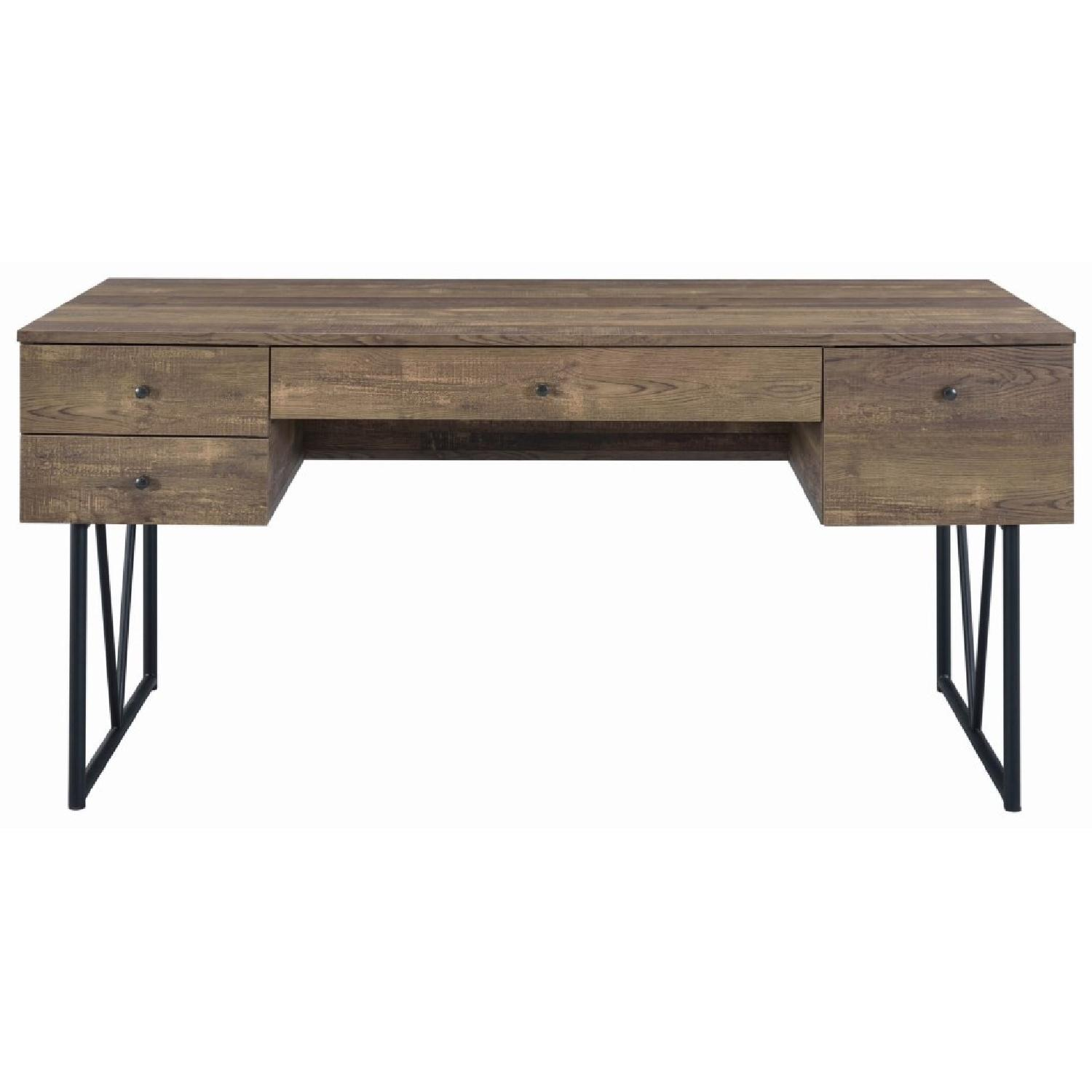 Rustic Oak Desk w/ Black Metal Frame Legs - image-0