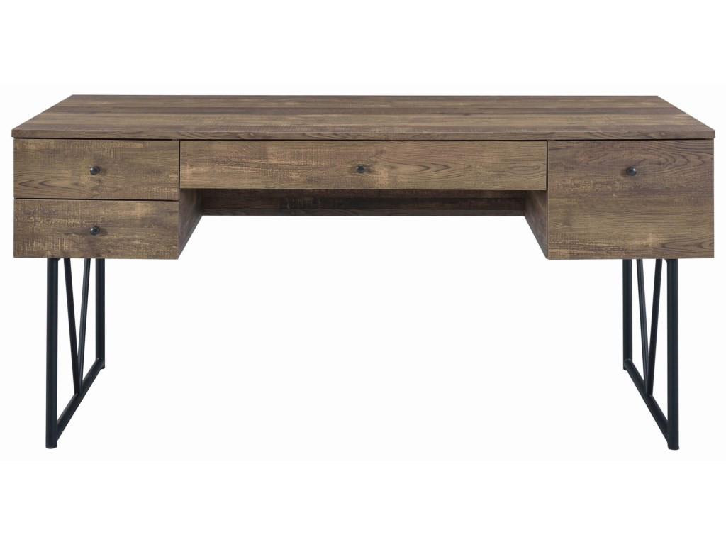 Rustic Oak Desk w/ Black Metal Frame Legs