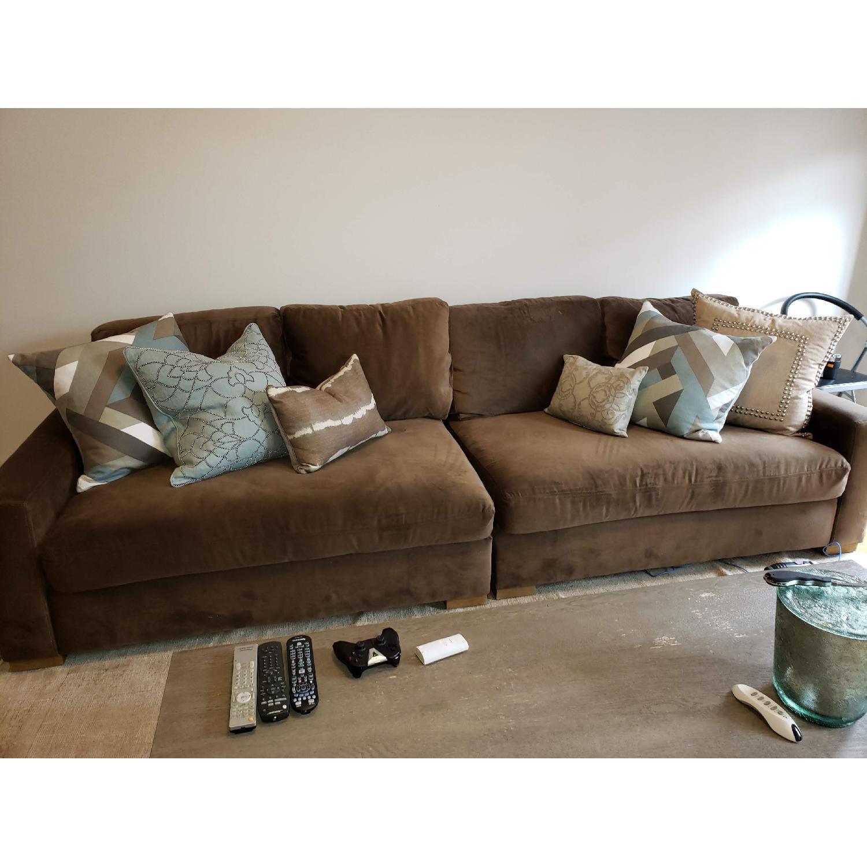 Restoration Hardware Maxwell 2-Piece Sofa in Mocha Velvet - image-2